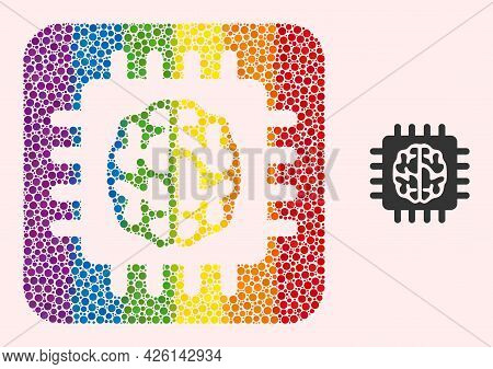 Dotted Mosaic Brain Chip Subtracted Icon For Lgbt. Colorful Rounded Square Mosaic Is Around Brain Ch