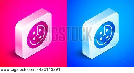 Isometric Radar With Targets On Monitor In Searching Icon Isolated On Pink And Blue Background. Sear