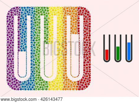 Dot Mosaic Analysis Test Tubes Subtracted Icon For Lgbt. Rainbow Colored Rounded Rectangle Mosaic Is