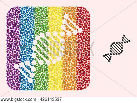 Dotted Mosaic Dna Molecule Hole Pictogram For Lgbt. Rainbow Colored Rounded Square Mosaic Is Around