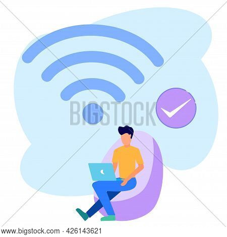 Vector Illustration, Wi-fi Wireless Point Wireless Connection, For Mobile User Interface, Business P