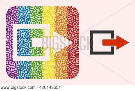 Dotted Mosaic Export Arrow Subtracted Pictogram For Lgbt. Rainbow Colored Rounded Square Collage Is