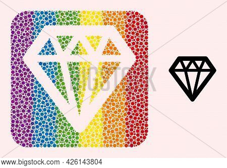 Dot Mosaic Diamond Subtracted Icon For Lgbt. Multicolored Rounded Rectangle Mosaic Is Around Diamond