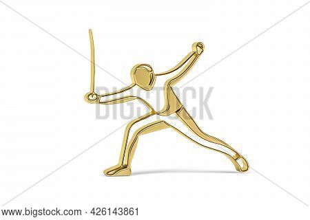 Golden 3d Fencing Icon Isolated On White Background - 3d Render