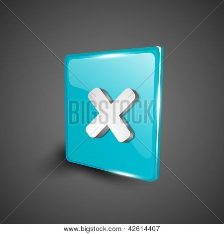 Glossy 3D web 2.0 cross mark validation symbol icon set. EPS 10.