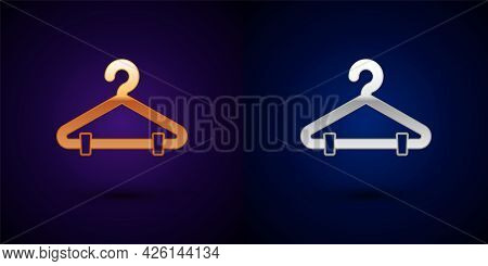 Gold And Silver Hanger Wardrobe Icon Isolated On Black Background. Cloakroom Icon. Clothes Service S