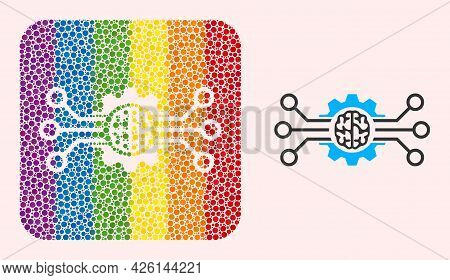 Dotted Mosaic Artificial Intellect Subtracted Icon For Lgbt. Rainbow Colored Rounded Square Collage