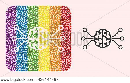 Dotted Mosaic Brain Circuit Stencil Icon For Lgbt. Rainbow Colored Rounded Rectangle Mosaic Is Aroun