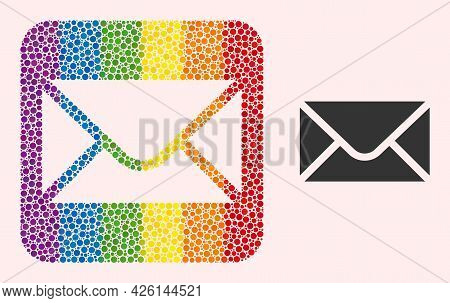 Dot Mosaic Envelope Carved Icon For Lgbt. Rainbow Colored Rounded Rectangle Mosaic Is Around Envelop