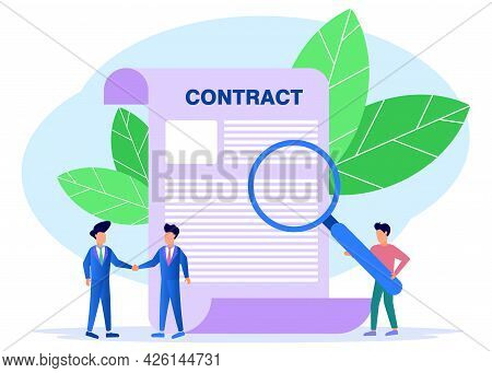 Vector Illustration Of A Business Concept. Business People Working Together To Shake Hands. Build A