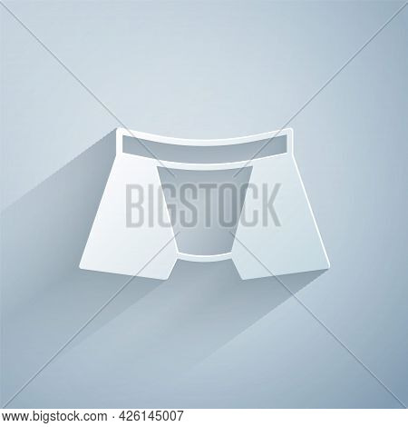 Paper Cut Men Underpants Icon Isolated On Grey Background. Man Underwear. Paper Art Style. Vector
