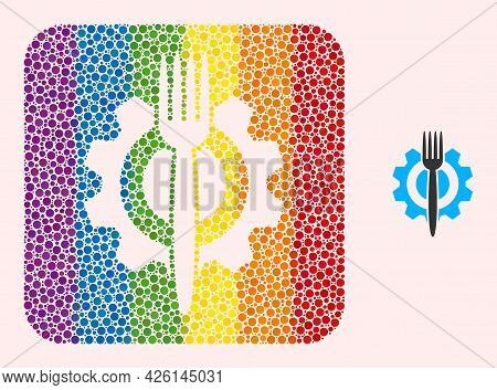 Dot Mosaic Food Hitech Subtracted Pictogram For Lgbt. Rainbow Colored Rounded Square Mosaic Is Aroun