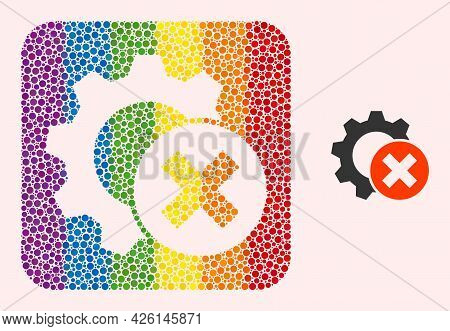 Dot Mosaic Delete Settings Gear Subtracted Pictogram For Lgbt. Color Rounded Square Collage Is Aroun