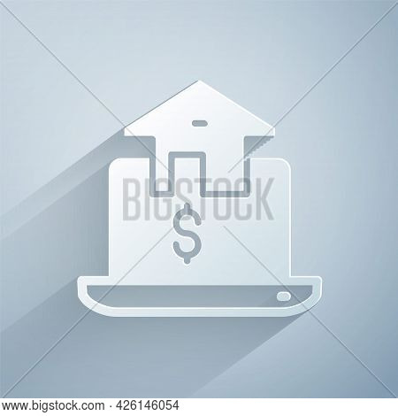 Paper Cut Online Real Estate House In Browser Icon Isolated On Grey Background. Home Loan Concept, R