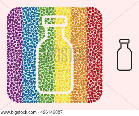 Dotted Mosaic Empty Vial Stencil Pictogram For Lgbt. Rainbow Colored Rounded Square Mosaic Is Around