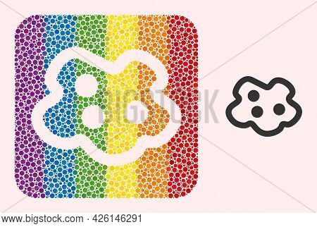 Dotted Mosaic Amoeba Subtracted Pictogram For Lgbt. Colorful Rounded Square Mosaic Is Around Amoeba