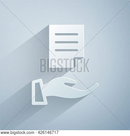 Paper Cut House Contract Icon Isolated On Grey Background. Contract Creation Service, Document Forma