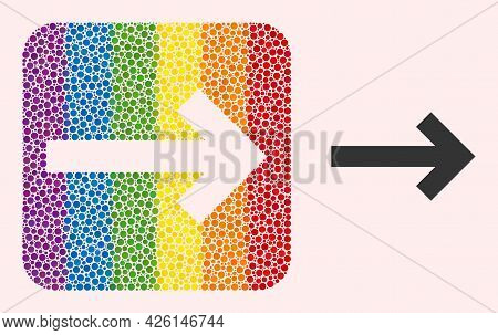 Dot Mosaic Direction Arrow Carved Icon For Lgbt. Colorful Rounded Rectangle Mosaic Is Around Directi