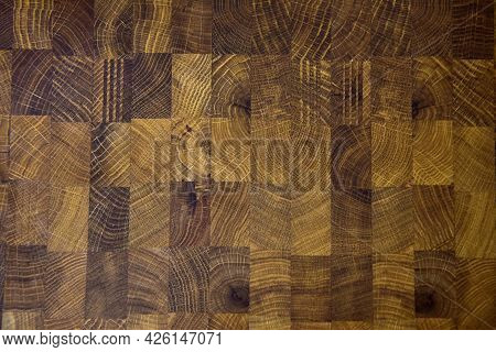 Oak Butcher Block Countertop. Background Of Wooden Surface For Furniture. Wood Texture