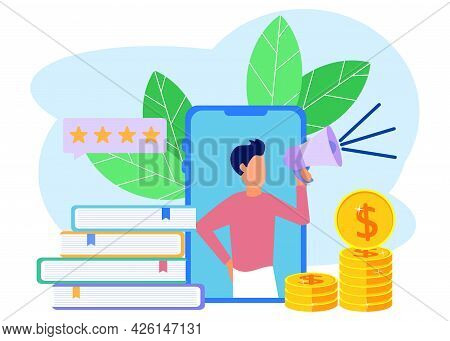 Vector Illustration Of Business Concepts, Digital Marketing Channel Lead Generation With Customers,
