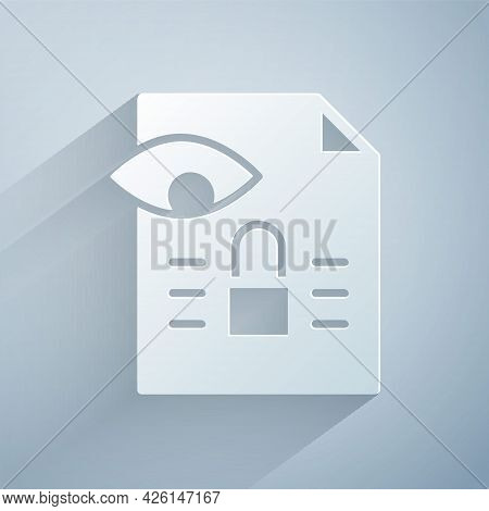 Paper Cut Journalistic Investigation Icon Isolated On Grey Background. Financial Crime, Tax Evasion,