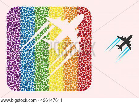 Dotted Mosaic Flying Airplane Trace Subtracted Icon For Lgbt. Color Rounded Rectangle Mosaic Is Arou