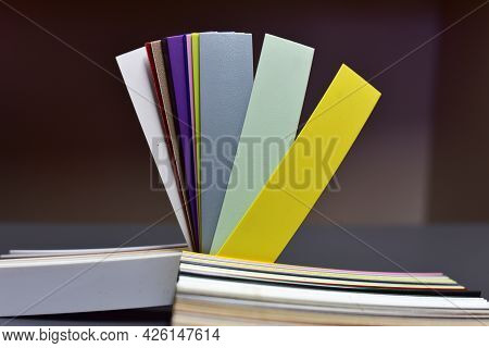 Color Palette Swatches. Palette Of Different Colors And Shades On Wood Background. Color Catalog For