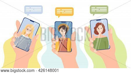 Cute Girls On Smartphone Screens. Hands Hold Smartphones, Video Call, Internet Communication. Friend