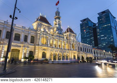 Ho Chi Minh, Vietnam - Oct 17, 2019 : The People\'s Committee Of Ho Chi Minh City At Night In Ho Chi
