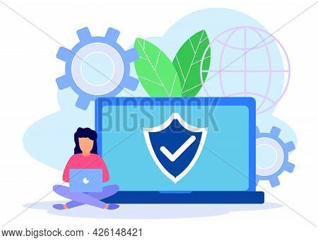 Vector Illustration Of A Technology Concept, Protecting Business Data On A Computer For A Web Page.
