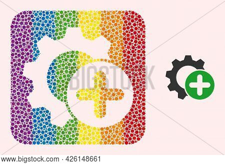 Dotted Mosaic Add Settings Gear Subtracted Pictogram For Lgbt. Rainbow Colored Rounded Rectangle Mos