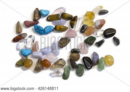 Collection Of Semi-precious Gemstones Isolated On A White Background