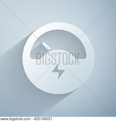 Paper Cut Ampere Meter, Multimeter, Voltmeter Icon Isolated On Grey Background. Instruments For Meas