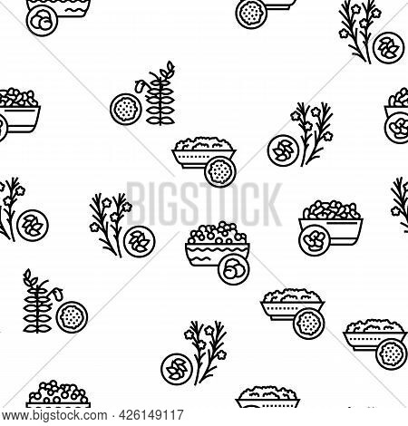 Groats Natural Food Vector Seamless Pattern Thin Line Illustration