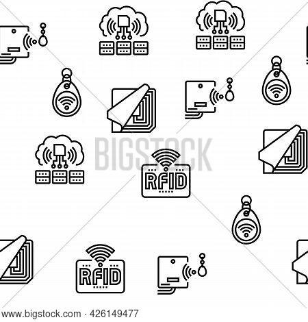 Rfid Chip Technology Vector Seamless Pattern Thin Line Illustration