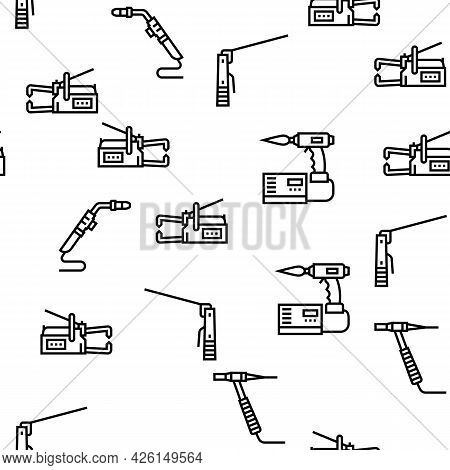 Welding Machine Tool Vector Seamless Pattern Thin Line Illustration