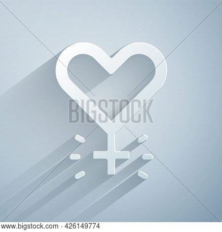 Paper Cut Feminism Icon Isolated On Grey Background. Fight For Freedom, Independence, Equality. Pape