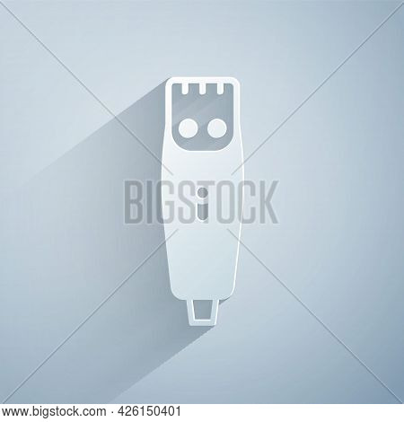 Paper Cut Electrical Hair Clipper Or Shaver Icon Isolated On Grey Background. Barbershop Symbol. Pap