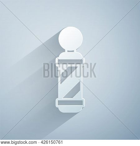 Paper Cut Classic Barber Shop Pole Icon Isolated On Grey Background. Barbershop Pole Symbol. Paper A