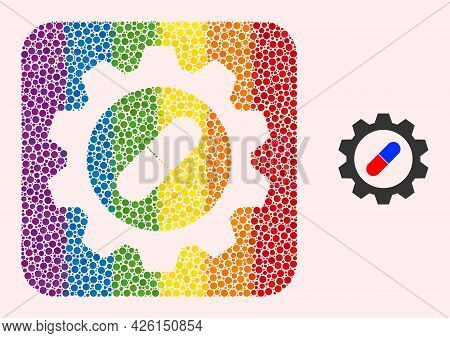 Dotted Mosaic Pharma Industry Subtracted Pictogram For Lgbt. Multicolored Rounded Rectangle Mosaic I