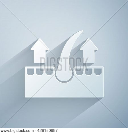 Paper Cut Human Hair Follicle Icon Isolated On Grey Background. Hair Care Treatment. Paper Art Style