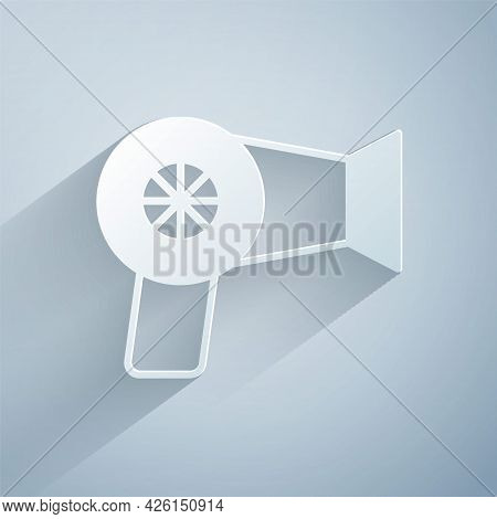 Paper Cut Hair Dryer Icon Isolated On Grey Background. Hairdryer Sign. Hair Drying Symbol. Blowing H