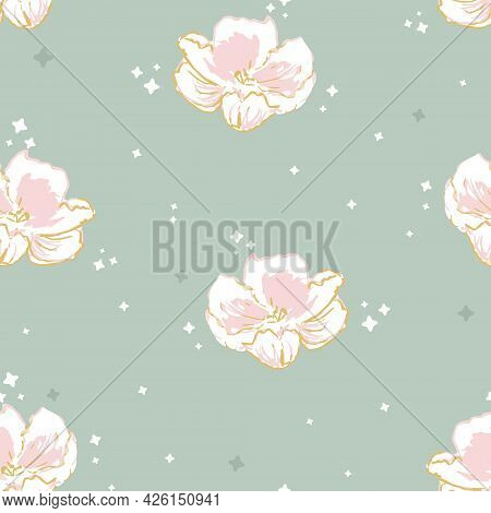 Vector Cute Sparkling Pink Roses On Sage Green Seamless Pattern Background. Perfect For Fabric, Scra