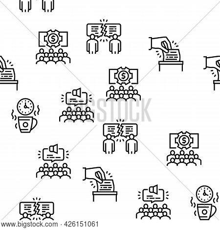 Forum People Meeting Vector Seamless Pattern Thin Line Illustration