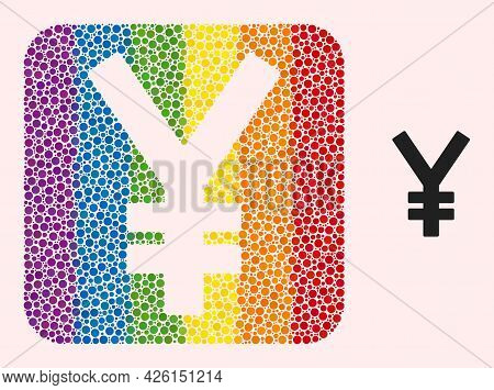Dot Mosaic Yen Stencil Icon For Lgbt. Multicolored Rounded Square Mosaic Is Around Yen Stencil. Lgbt