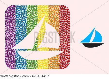 Dot Mosaic Sailing Boat Hole Icon For Lgbt. Colored Rounded Rectangle Mosaic Is Around Sailing Boat