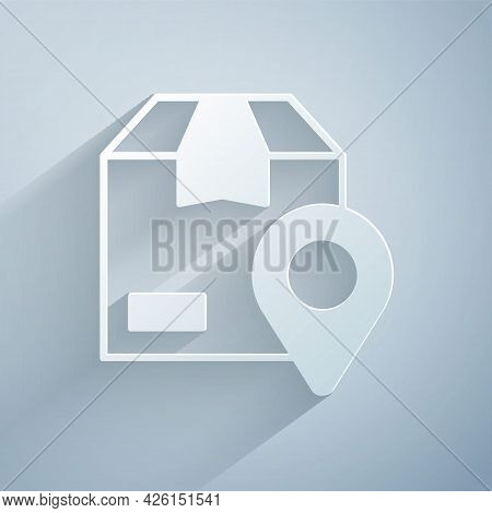 Paper Cut Location With Cardboard Box Icon Isolated On Grey Background. Delivery Services, Logistic
