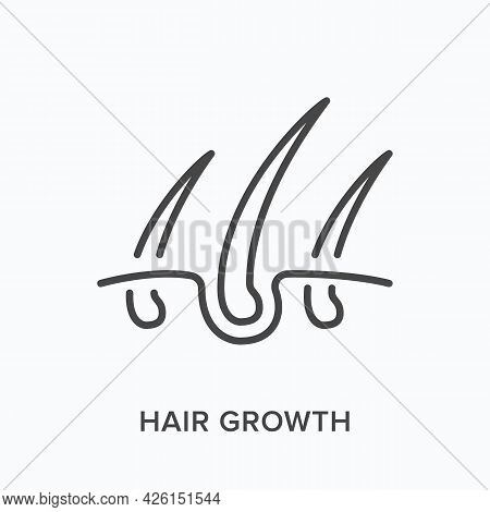 Hair Growth Flat Line Icon. Vector Outline Illustration Of Skin And Shaft. Black Thin Linear Pictogr