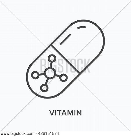 Vitamin Flat Line Icon. Vector Outline Illustration Of Capsule. Black Thin Linear Pictogram For Medi