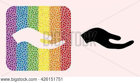 Dotted Mosaic Petition Hand Hole Icon For Lgbt. Rainbow Colored Rounded Rectangle Mosaic Is Around P